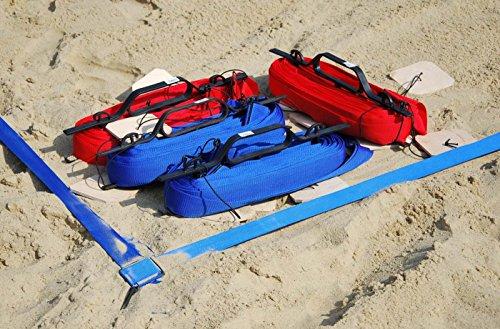 Turnier Beachvolleyball Linien 16x8m, Breite 5cm - Official Spielfeldmarkierung Volleyball Size Sand (Blue)