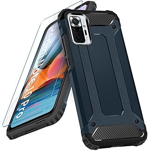 AROYI Cover Compatibile per Xiaomi Redmi Note 10 PRO 4G con Pellicola Protettiva in Vetro Temperato, Custodia Robusto Silicone TPU e PC Cassa Ibrido Doppio Strato Protective Case, Blu Scuro