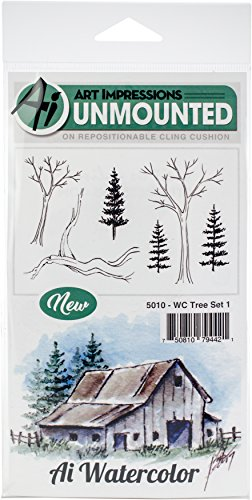 Art Impressions Watercolor Cling Rubber Stamps Tree, Multicolor