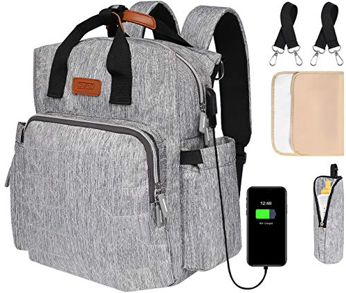 Diaper Bag Backpack, Multifunction Diaper Bags for Baby Boy, Convenient Backpacks for Girl,Water Resistant Nappy Organizer with Changing Mat,Stroller Straps,USB Charging Port,Insulated Pockets,Grey