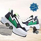 レディースメンズ、ボーイズキッズホイールシューズローラースニーカーの靴のためのローラーシューズスケートシューズ,グリーン,39