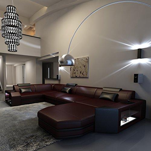 Schlichter Möbel Wohnmöbel Sofagarnitur Polstergarnitur Designsofa Sofa Kalmar U weinrot-schwarz