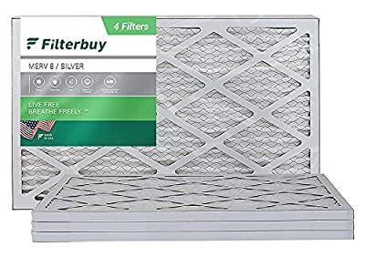 FilterBuy 10x20x1 Air Filter MERV 8, Pleated HVAC AC Furnace Filters (4-Pack, Silver)