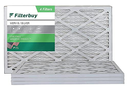 FilterBuy 20x30x1 Air Filter MERV 8, Pleated HVAC AC Furnace Filters (4-Pack, Silver)