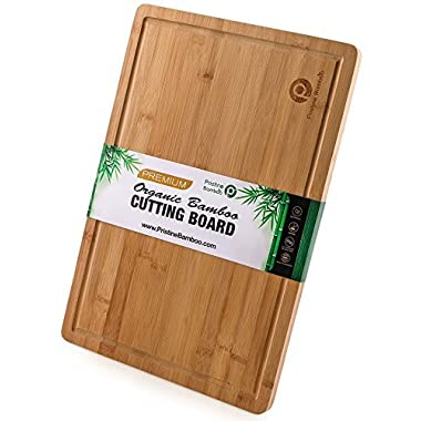 "EXTRA LARGE ORGANIC Bamboo Cutting Board w/Handles and Juice Grooves | Non-slip Wooden Chopping Board for Meat (Butcher Block), Vegetables, Fruit | Perfect Serving Board (18 x 12"") by Pristine Bamboo"
