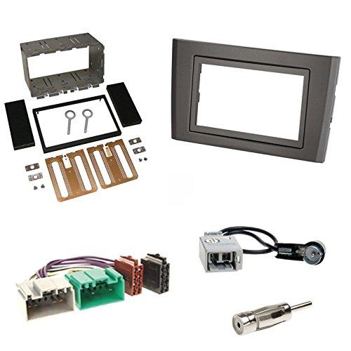 Einbauset : Autoradio Doppel-DIN 2-DIN Radioblende - Halterung - Radio Blende - schwarz + ISO Adapter Set für Volvo XC90 (C Facelift) 05/2006 - 07/2014