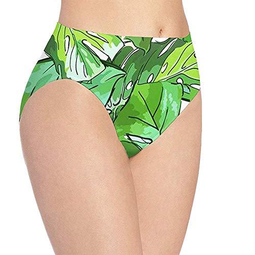 Adamitt Frauen Tropical Green Leaves Malerei Print Unterwäsche, Mädchen Cute Hipster Briefs Höschen