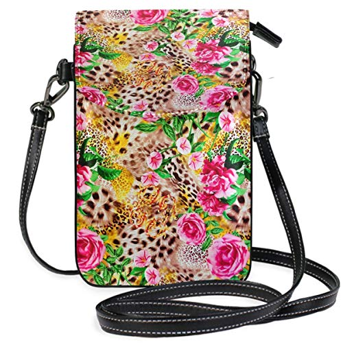 ClownFish Animal Leopard Print Floral Rose Mini bolsos de hombro cruzados Monedero para celular Billetera...