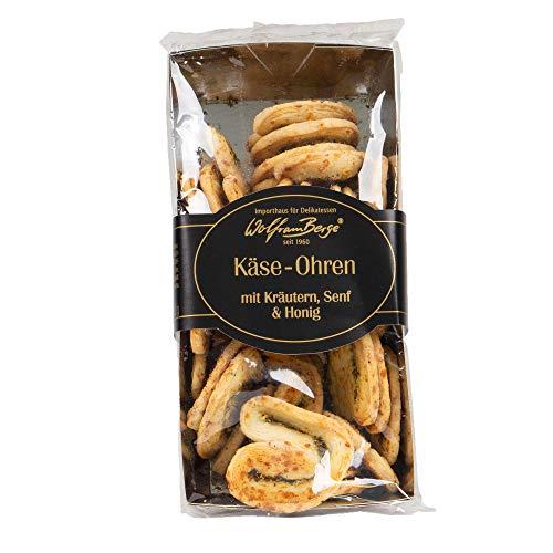 Wolfram Berge Butter Käse-Ohren mit Kräutern, Senf und Honig - Käsegebäck mit Kräutern und Senf-Honig-Geschmack, 3er Pack (3 x 150 g)