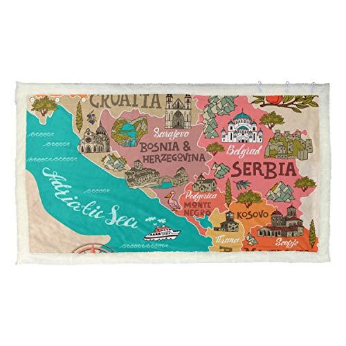 BEITUOLA Coperta da Lancio Multifunzione,Mappa illustrata Balcani Attrazioni di Viaggio,Nuove Coperte Personalizzate personalizzate-80 * 135cm