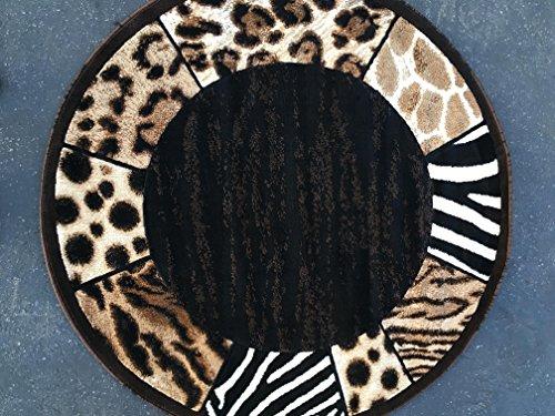 Skinz Animal Skin Print Border Round Area Rug Black Design 73 (5 Feet X 5 Feet)