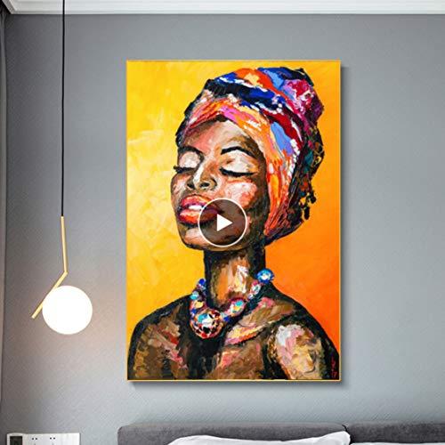 Danjiao Resumen Cuchillo Pintura Al Óleo Retrato Cartel Sexy Mujeres Africanas Lienzo Pintura Pared Cuadros Para Sala De Estar Cuadros Decoración Del Hogar Sala De Estar Decor 60x90cm