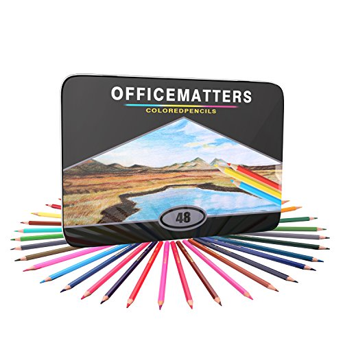 officematters 48 Colored Pencils for Adult Coloring Books, Hard Core, Assorted Colors