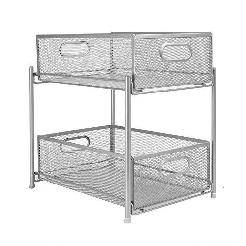 Estantes deslizantes de acero de 2 niveles | Organizadores de armarios | Cestas de almacenamiento con railes deslizantes | Organizadores de cocina | Almacenamiento de baño | M&W