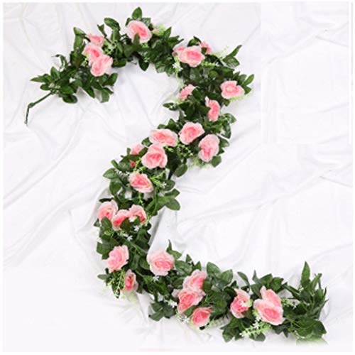 Artificial Rose Vine Flowers with Green Leaves Fake Silk Rose Hanging Vine Flowers Garland Ivy Plants for Home Wedding Party Garden Wall Decoration