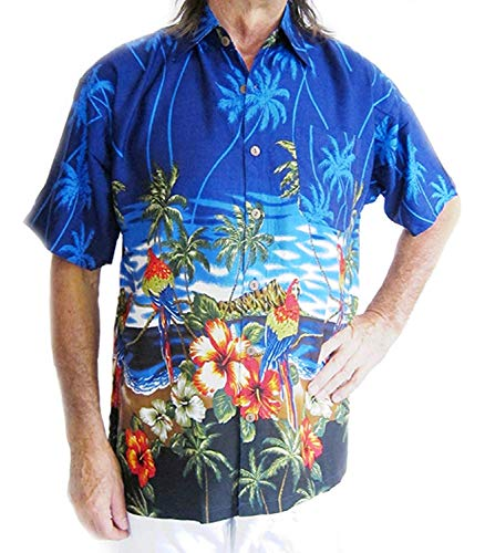 """Double Duck Chemise Hawaïenne avec Perroquets/Hibiscus, Cerf Nuit,Vacances Fête Neuf - Bleu Moyen, 2XL- 56"""" Chest, Will fit up to 52"""" Body, 29"""" Long"""