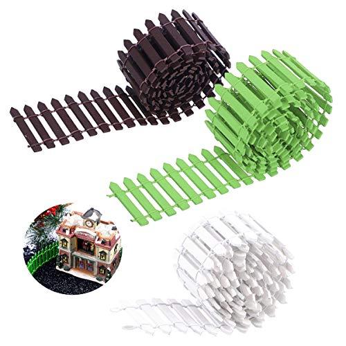 Mini Valla,90cm x 5cm Flexible Jardín Valla Miniatura de Madera para Bonsai Micro Jardín Planta Terrario Paisaje Kits Decoración Al Aire Libre Casa de Muñecas Bricolaje (Blanco,Marrón y Verde)