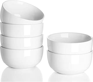 Teocera 10 Ounce Porcelain Bowl Set, Small Bowls - A Healthier Way for Ice Cream Dessert, Small Side Dishes - Set of 6, White