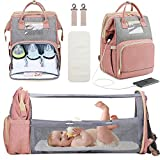 3 in 1 Diaper Bag Backpack with Changing Station, Travel Bassinet Foldable Baby Bed, Baby Bag Portable Crib, Mummy Bag, Large Capacity, Waterproof, USB Charging Port, Pink (Pink)