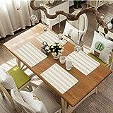 FloraGrantnan - Juego de 8 alfombrillas de mesa antideslizantes y lavables con patrón de línea horizontal y líneas curvadas A, alfombrillas de cocina fáciles de limpiar