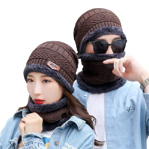 BRATS N BEAUTY® Brown Color Winter Soft Warm Snow Proof (Inside Fur) Woolen Beanie Cap with Scarf for Women's & Girl's (Free Size)
