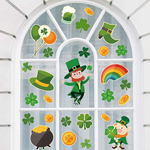 Hidreas 138 PCS St. Patrick's Day Window Clings Stickers, Shamrock Window Stickers Clings Decal 6 Sheets
