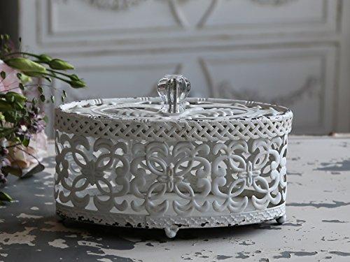 Chic Antique decorazione in metallo della dose (Fil de Fer Box Antique Bianco)