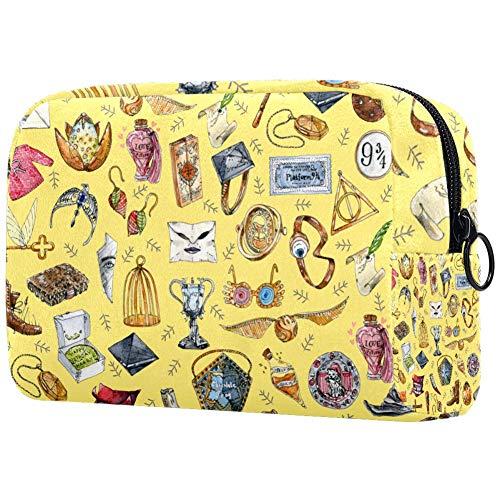 Bolsa de maquillaje personalizable, bolsa de aseo portátil para mujer, bolso cosmético, organizador de viaje, objetos amarillos