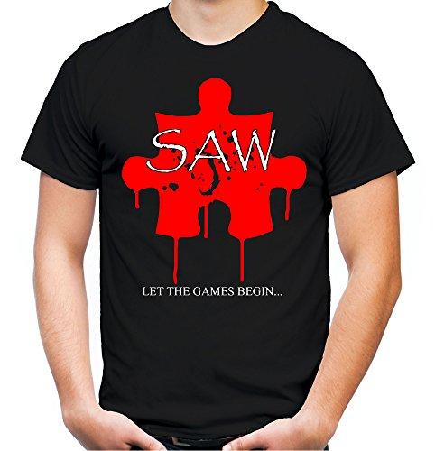 Saw Puzzle Männer und Herren T-Shirt | Spruch Jigsaw Horror Geschenk (XXL, Schwarz)