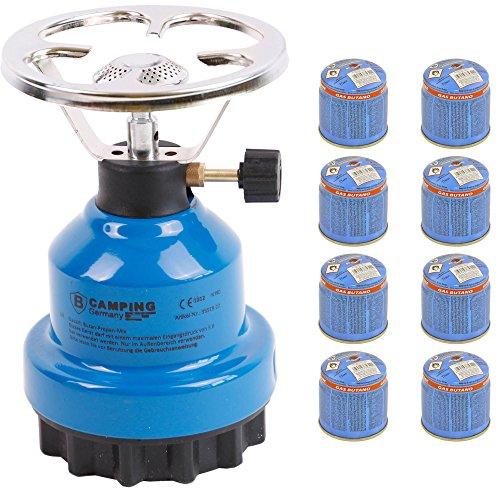 Campingkocher E190 Gaskocher Metall mit 8X Gas (Blau 8 Gas)