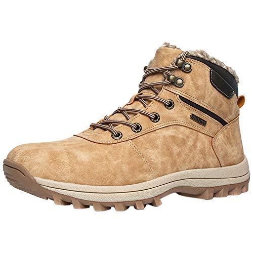 Botas de Senderismo Hombre Impermeable Zapatos de Invierno Forrado Cálido Al Aire Libre Deporte Alpinismo Antideslizante Cómodo Botas de Nieve Caqui 48 EU