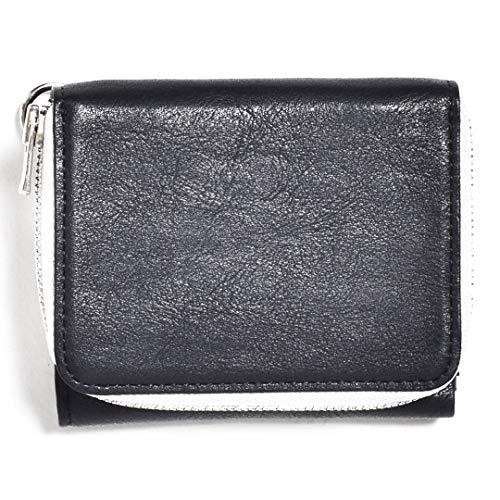 [センティ] 財布 メンズ 三つ折り ブランド SENTI センティ コンパクト ミニ レザー 本革 本皮 牛革 牛皮 おしゃれ 小銭入れ ブラックホワイト Free