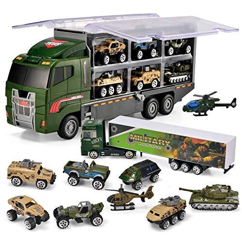 JOYIN Camión de Metal para Niños 10 En 1 Diecast Militar Coche Juguetes Vehículo de Construcción Carrier Truck
