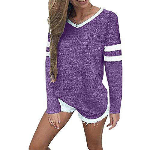 WARMWORD Camiseta Casual para Mujer Blusa Holgada Color sólido Raya Jumper de Manga Larga Tops Ropa con Cuello en O Sudadera de otoño e Invierno Jersey de poliéster Colores múltiples