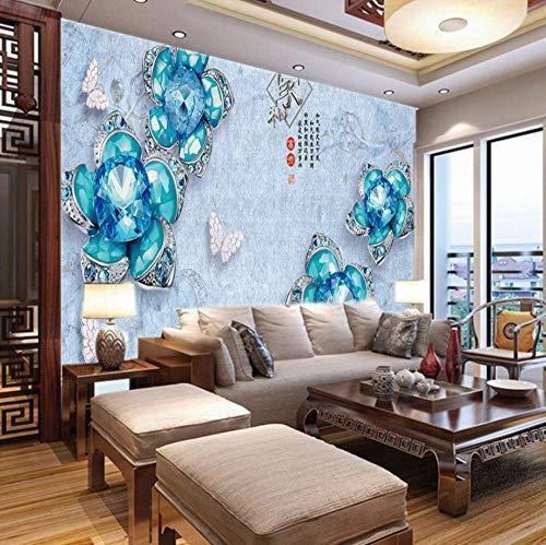 Fotobehang Kinderen Blauw Gem Bloem, 150X100Cm Non-Woven Muurschildering Fotobehang Beeld Thuis Slaapkamer Woonkamer Decoratie 350x250cm