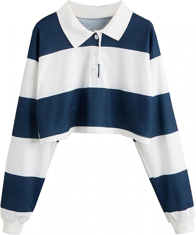 Women Crop Top Cute Sweatshirts Teen Girls Hoodie Turn-Down Collar Sweatshirt Long Sleeve Color Stripe Button Shirts Top