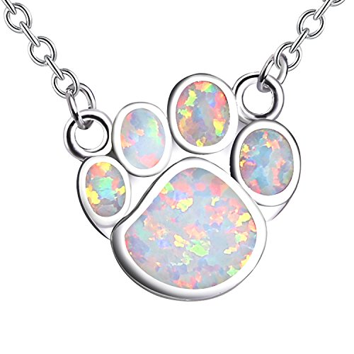 KELITCH Halsketten Zum Frau Männer Weiß Opal Hund Pfote Drucken Halskette 925 Sterling Silber Überzogen Zum Mädchen Personalisiert
