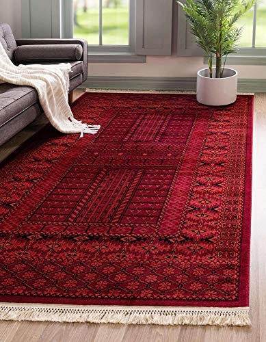 Unique Loom Tekke Collection Tribal Traditional Torkaman Red Area Rug (9' 0 x 12' 0)