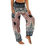 LUBITY Pantalon Yoga Femmes Sarouel Bohémien Harem Pants Imprimé Floral pour Danse Orientale Pantalon Sarouel Femmes Taille Smockée Boho Harem Pants