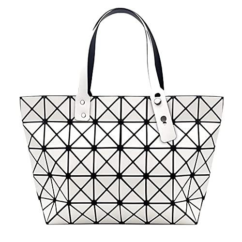 QIANJINGCQ Moda todo-fósforo personalidad geométrica bolso de gran capacidad femenino bolso de celosía bolso de diseño simple debajo del brazo bolso de hombro de color sólido