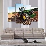 KOPASD Art Enlienzo Póster Tractor Green Power Deere 4 Piezas Pared Mural para Decoracion Cuadros Modernos Salon Dormitorio Comedor Cuadro Impresión Piezasmaterial