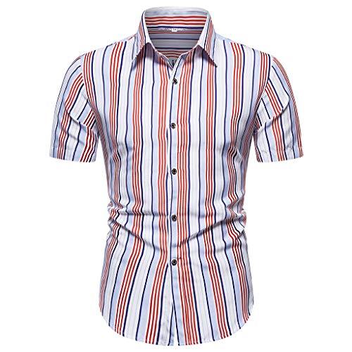 Yowablo Hemd Herren Oberteile blusen Bluse Top Männer Sommer gestreiftes bedrucktes Kurzarmhemd Stilvoll Bequem (XXL,3Rosa)