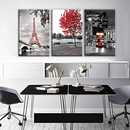 YGKDM canvas HD gedrukt poster wooncultuur 3 stuks Parijs toren auto Red Maple landschapsfoto's bus foto's kamer muurkunst frame 50cmx70cmx3pcs No Frame