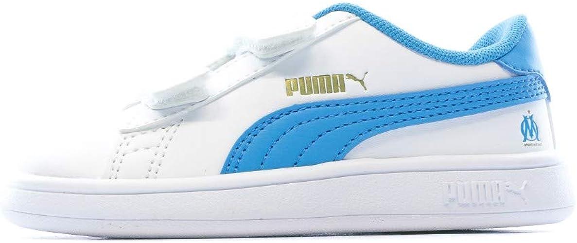 PUMA - Smash v Om WHT/TRQ BB - Chaussures Scratch - Blanc - Taille ...