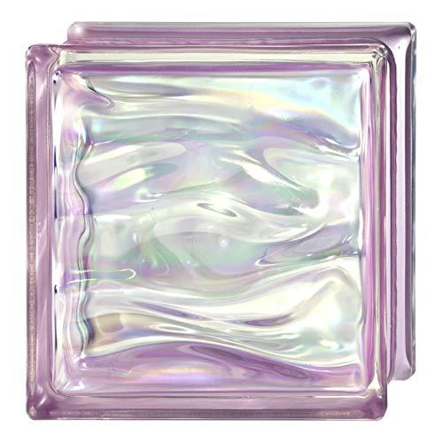 6 Piezas Bloque de vidrio Bormioli Rocco colección Agua Perla Amatista | cm 19x19x8 | Unidad de venta 1 caja de 6 pzas