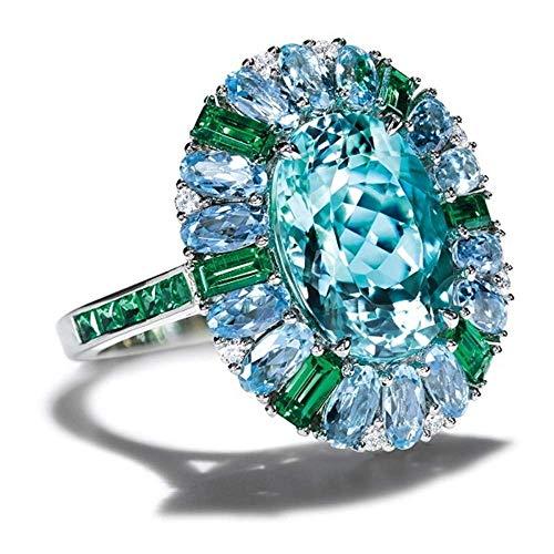 Anillos de joyería de piedra azul mar anillo de boda con incrustaciones de color plateado anillos para mujer joyería de compromiso, tamaño: 9 (tamaño: 8)