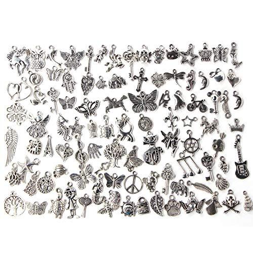 Venta al por mayor lotes a granel, 100 piezas de joyería de plata, colgantes de amuletos de metal plateado tibetano liso mezclado, colgantes de dijes DIY para la elaboración de pulseras de collar