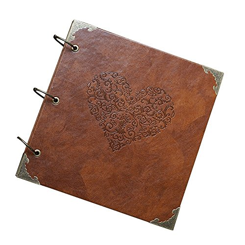 GnD Heart-Shaped Leather Cover Scrapbook DIY Photo Album,Perfect as Wedding Guest Book