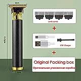 XKMY Recortadora y afeitadora recargable por USB, cortadora de pelo de peluquero lavable, recortadora eléctrica recargable, mini afeitadora para hombres 0 mm (color negro moleteado)