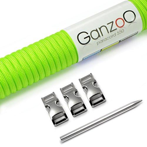 Ganzoo Paracord 550 Seil + 3X Klickverschluss + Nadel für Armband, Leine, Halsband